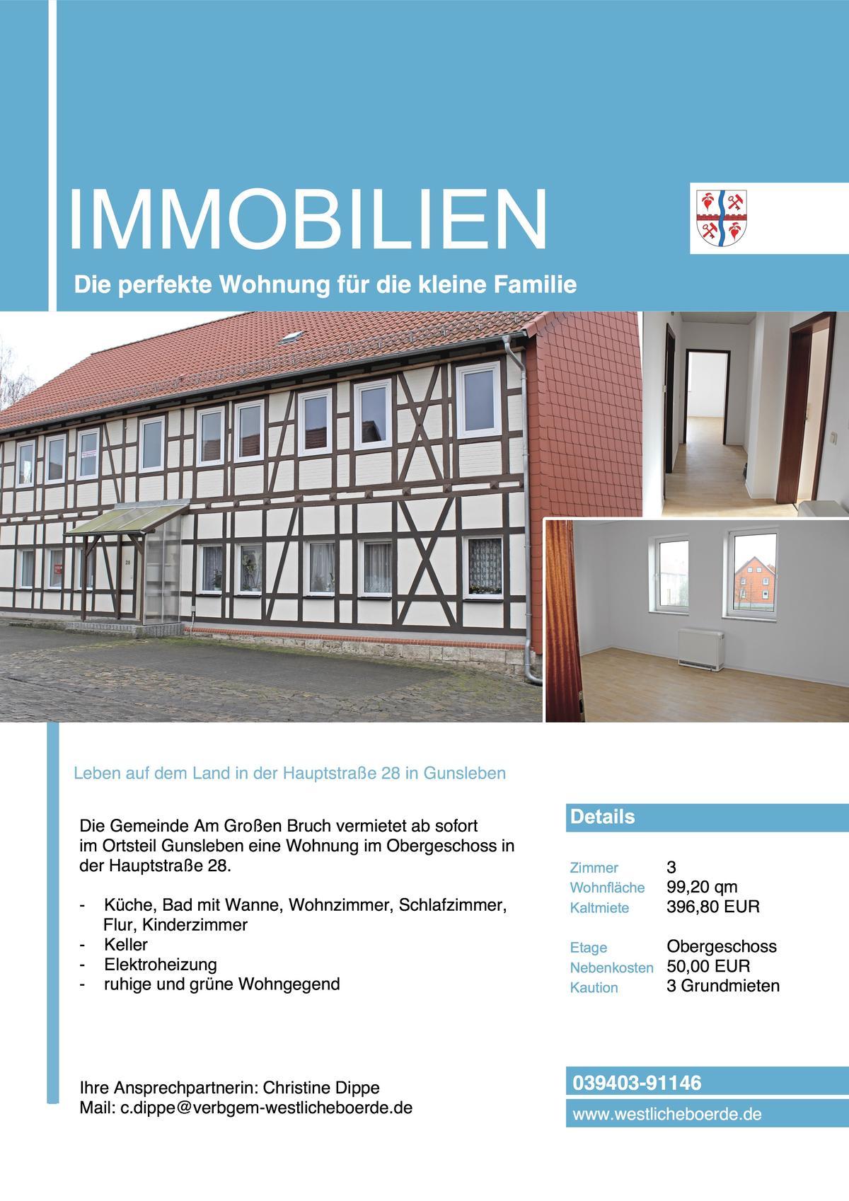 3 Raum Wohnung In Gunsleben Bei Oschersleben